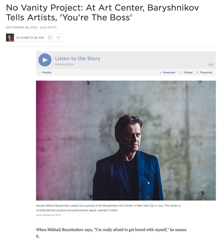 Photography:  Bryan Derballa   Photo Editing + Direction: Ariel Zambelich  Story:  No Vanity Project: At Art Center, Baryshnikov Tells Artists, 'You're The Boss'