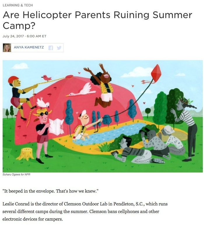 Illustration:  Suharu Ogawa   Art Direction: Ariel Zambelich  Story:  Are Helicopter Parents Ruining Summer Camp?