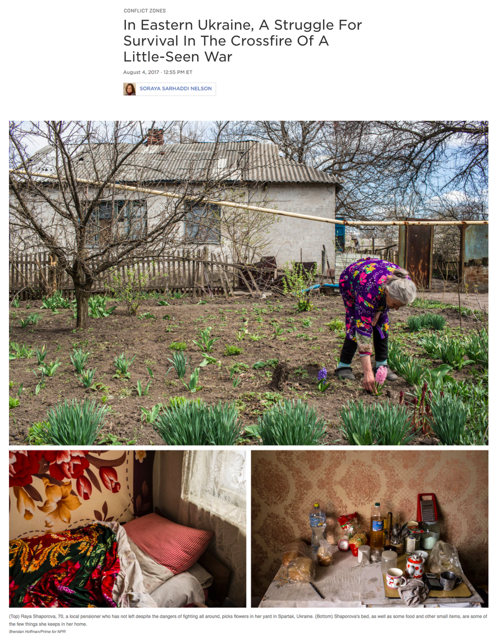 Photography + Writing:  Brendan Hoffman  for NPR  Photo Editing: Ariel Zambelich  Story:  In Eastern Ukraine, A Struggle For Survival In The Crossfire Of A Little-Seen War