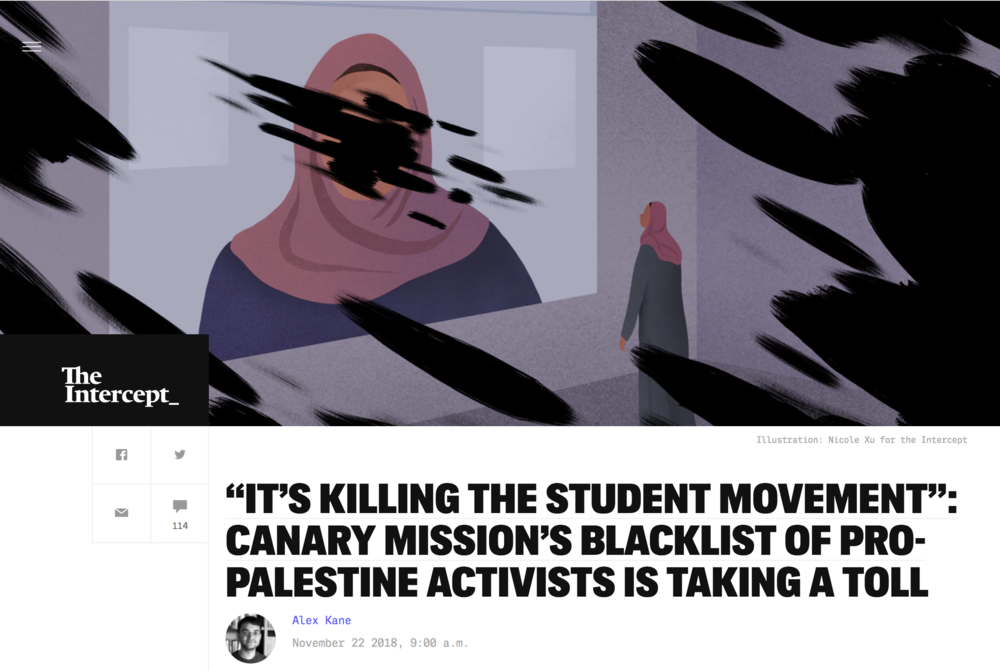 "Illustration:  Nicole Xu   Art Direction: Ariel Zambelich  Story:   ""It's Killing The Student Movement"": Canary Mission's Blacklist of Pro-Palestine Activists Is Taking A Toll"