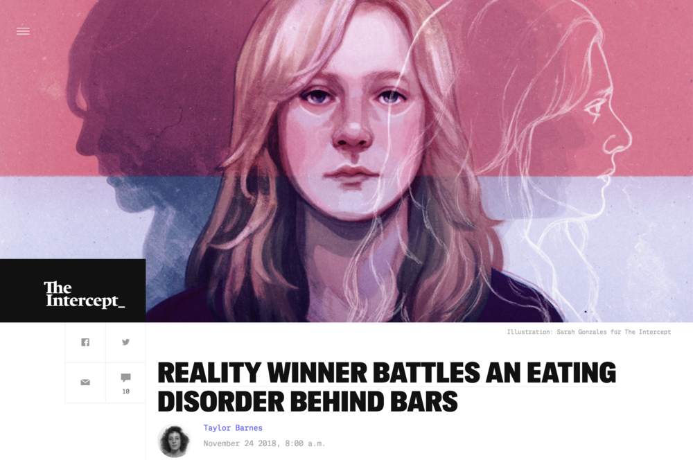 Illustration:  Sarah Gonzales   Art Direction: Ariel Zambelich  Story:   Reality Winner Battles An Eating Disorder Behind Bars