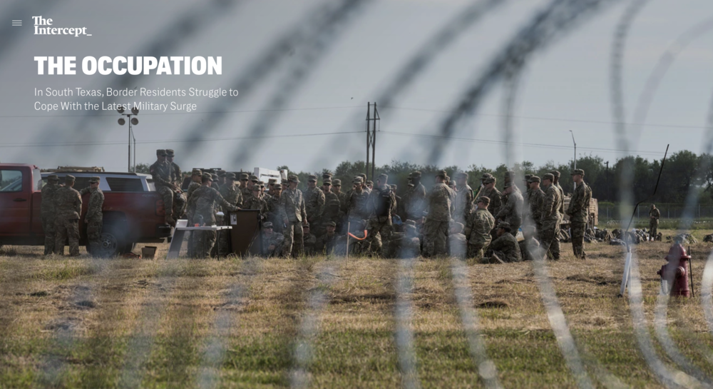 Photography:  Verónica Gabriela Cárdenas   Photo Editing: Ariel Zambelich  Story:   The Occupation:  In South Texas, Border Residents Struggle to Cope With the Latest Military Surge