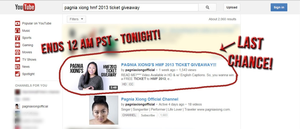 [CLOSED] Free HMF 2013 tickets?! Act fast! Pagnia's HMF 2013 Ticket Giveaway ENDS TONIGHT!        http://youtu.be/MnH3Frpiyks