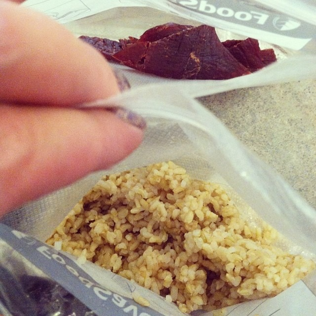 The best meal for traveling. All that's missing is water. #beefjerky #rice #holidaytravels #airportfoodisoverpriced