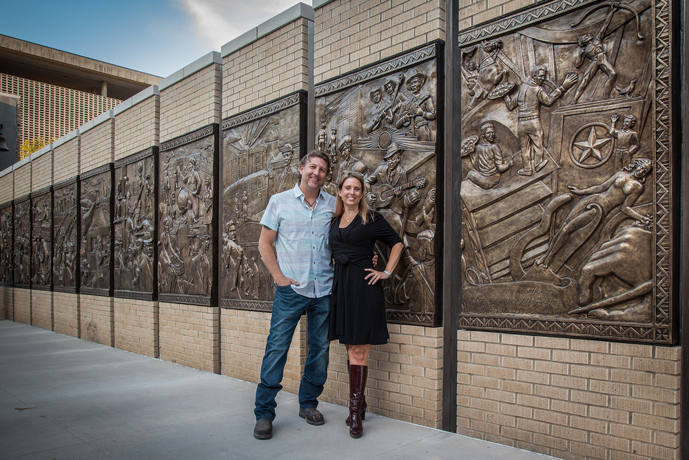 Brad Oldham and Christy Coltrin, creators of the Sculpture Wall. Photo by Kim Leeson.
