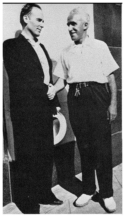 Art Satherley (American Record Corp producer) and Bob Wills in front of 508 Park in the 1930's.