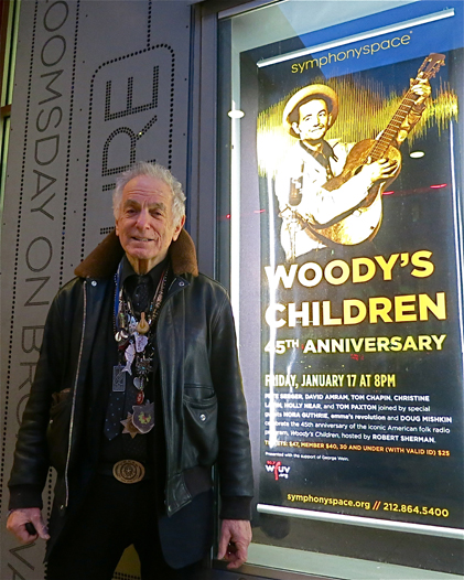 """David Amram at the 45th Anniversary of """"Woody's Children"""" at Symphony Space, January 17, 2014, Courtesy of Woody Guthrie Publications"""