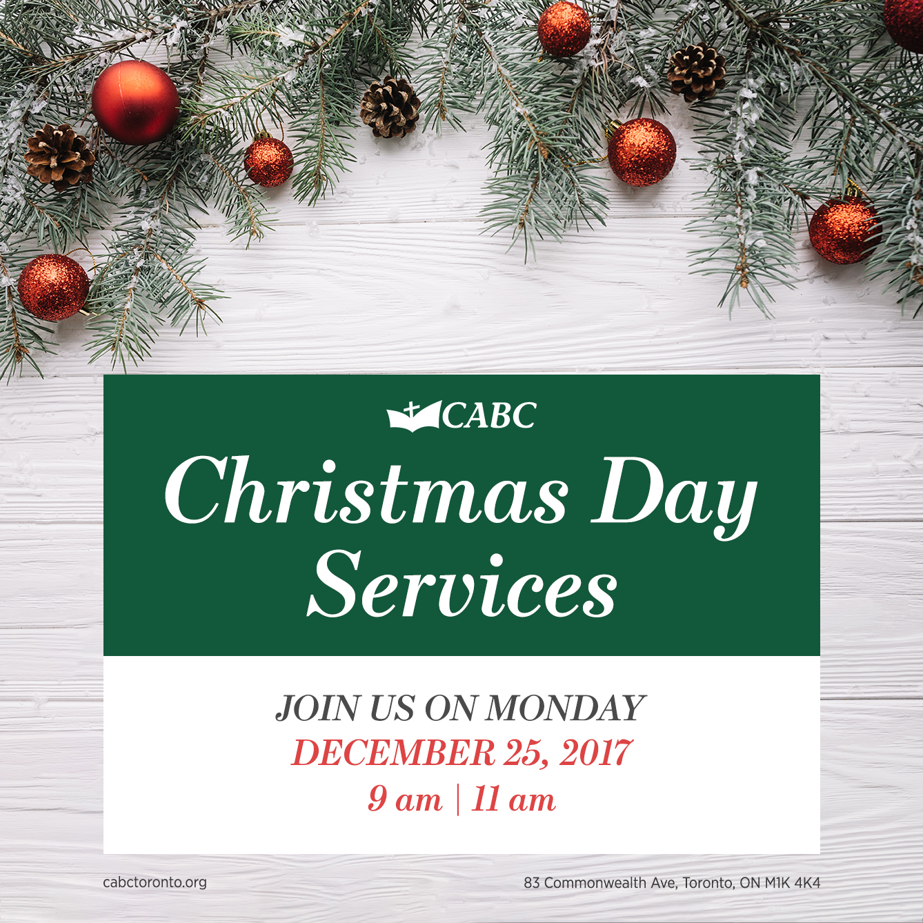 Christmas Day Service   11 AM