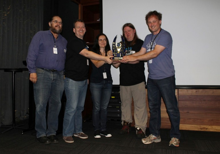 Winning the Summer 2014 and Winter 2015 hackathons! (note some team members are missing from photo)