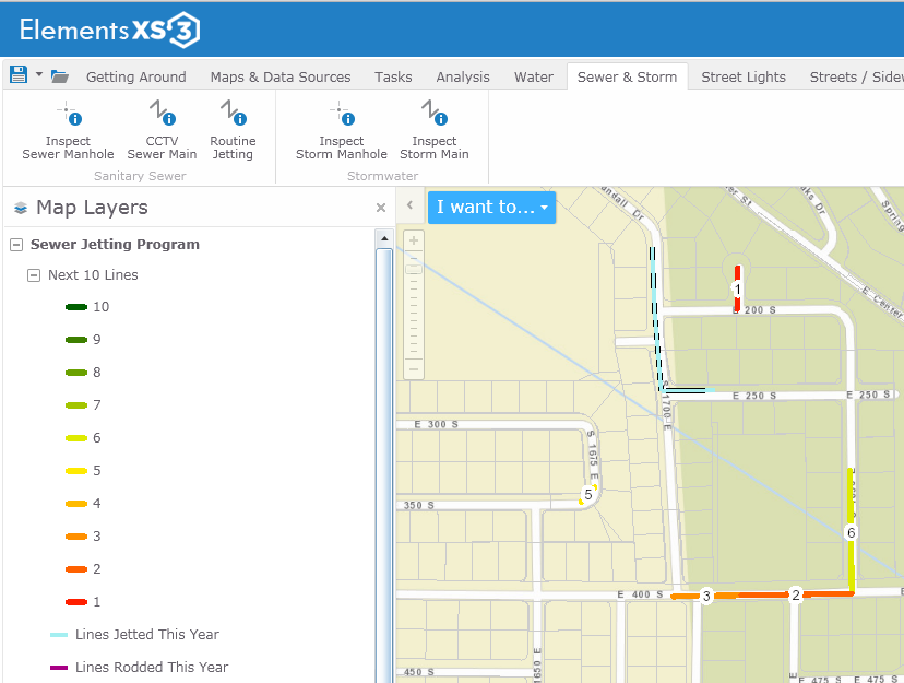 Elements XS3 used with Geocortex Essentials to create a Sewer Jetting Program, integrated directly with ArcGIS for Server