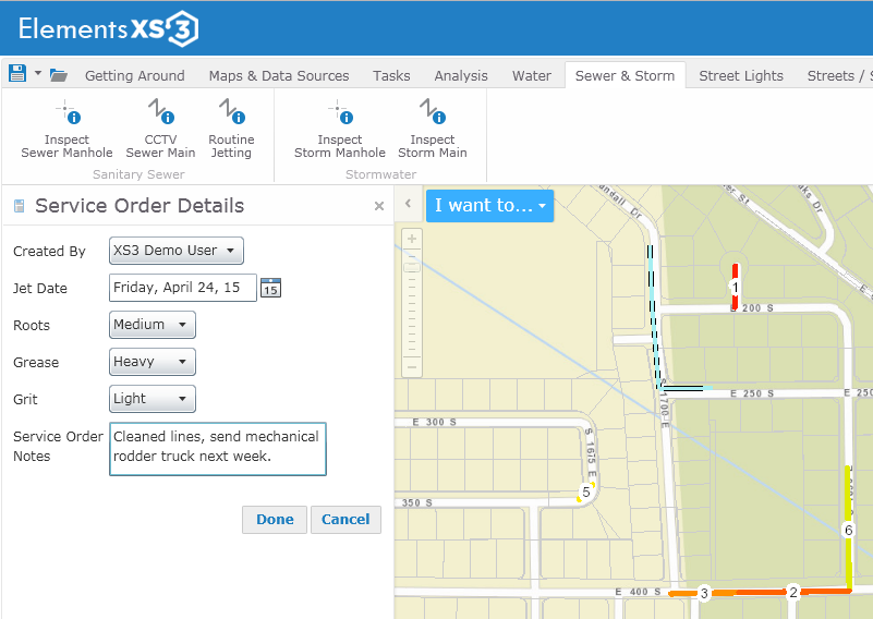 Sewer Jetting exampleusing the Geocortex Essentials engine and custom workflows.