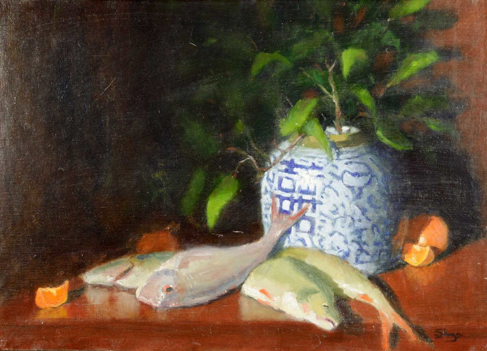 Still Life with Fish  74 x 53 cm