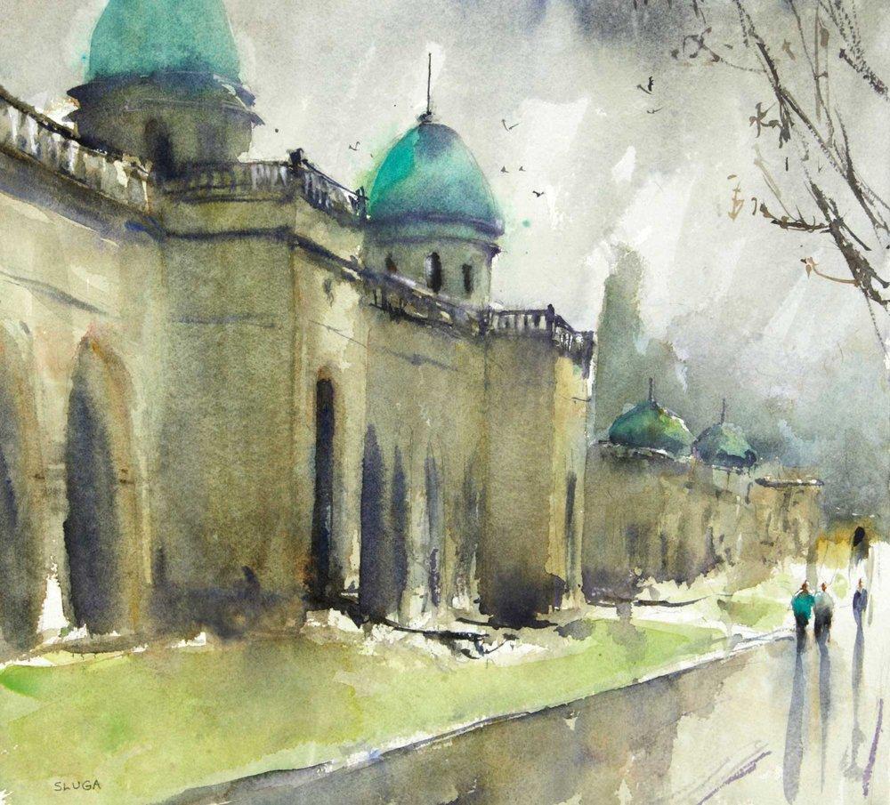 Rain in Zagreb 37 x 34 cm