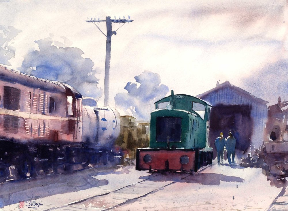 Morning Train, Queenscliff 75 x 55 cm