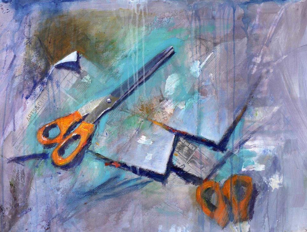Paper Scissors....  75 x 55 cm