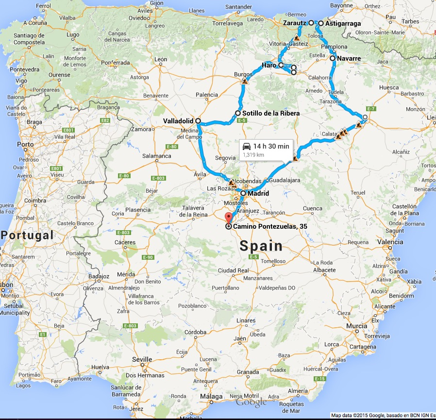 Our route over the next week, starting in Madrid on Sunday night!