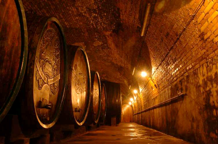 Barrels aging in the Brunn cellar