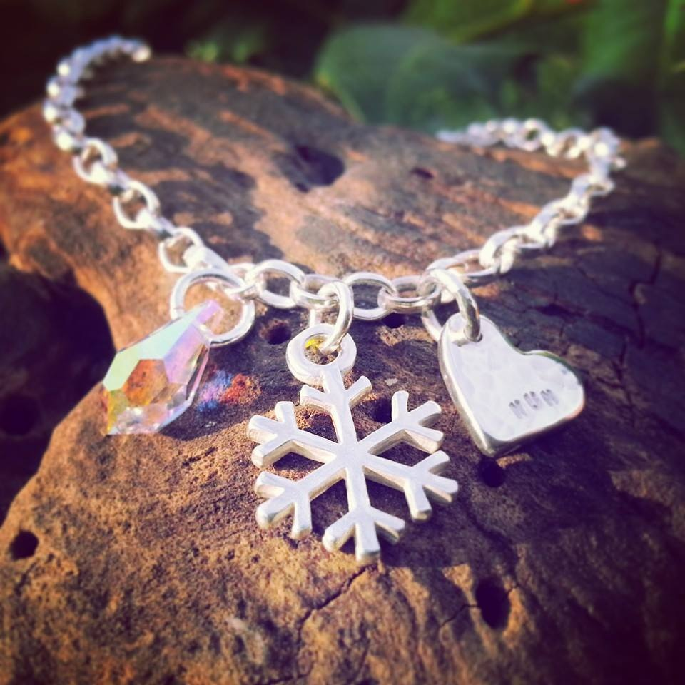 Winter Bridesmaid Custom Charm Necklace