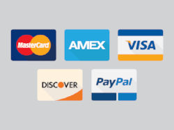 We accept payment by credit & debit cards as well as PayPal.