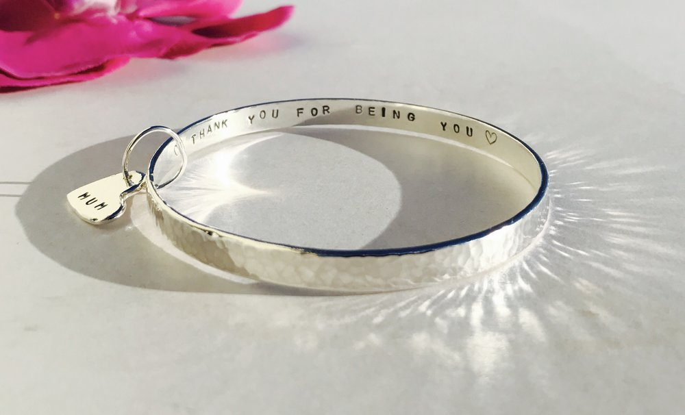 Custom Wide Storyboard Bangle with Heart Charm