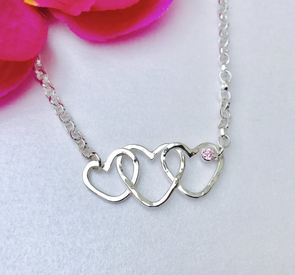 Custom Hearts Connected Anklet with stone