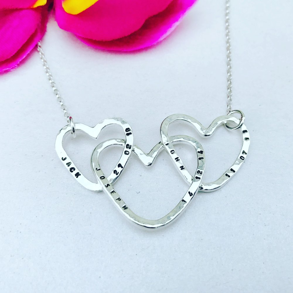 Custom Hearts Connected Necklace