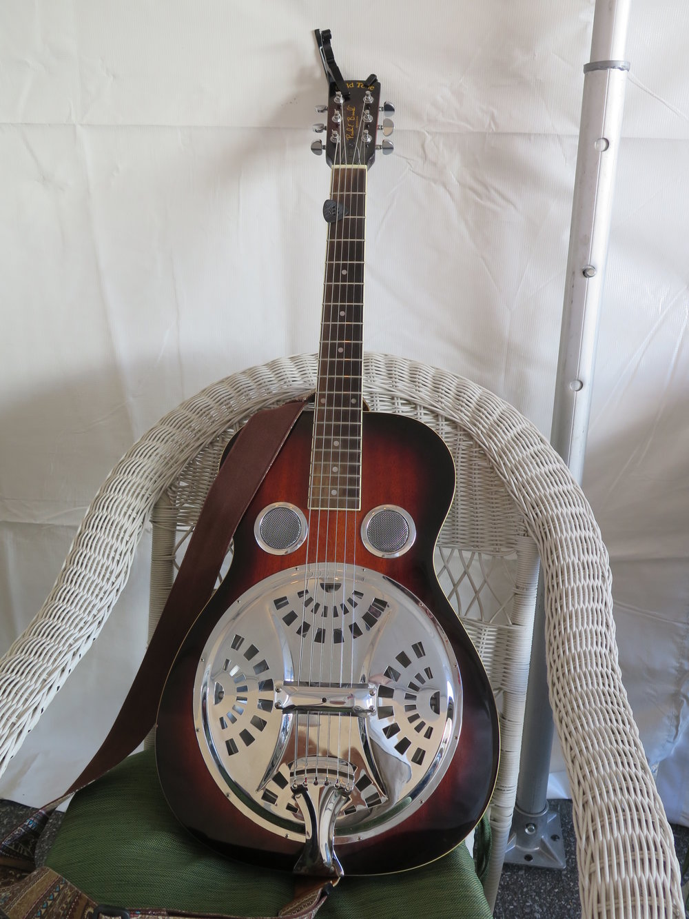 "Jacob from Front Country's ""Faux-bro"" resonator guitar backstage at Carolina In The Fall 2016"