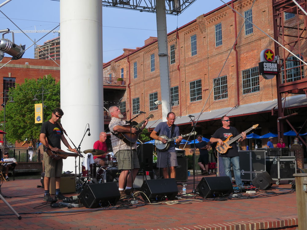 Acoustic Syndicate playing at the Back Porch Music Series in Durham, NC, 8-17-17