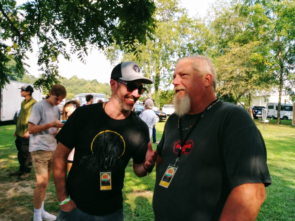 Ty Gilpin of Unspoken Tradition and Organic Records with Steve McMurry of Acoustic Syndicate at Pisgah Brewing for Jam In The Trees 8-26-17