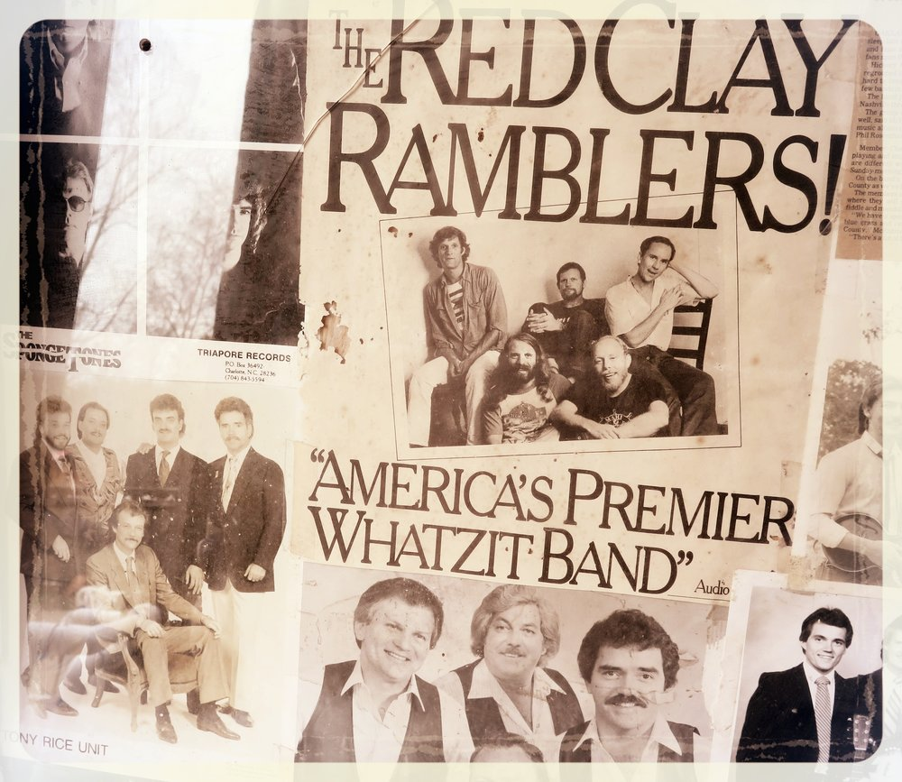 Posters of bands that played at Green Acres Music Hall in rural Bostic, NC decades ago.