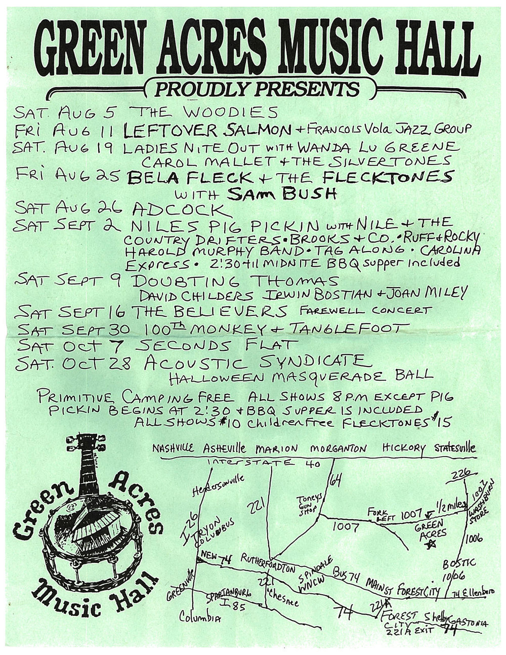 Flyer for Green Acres from late summer and fall of 1995, including a handy map. Think you could navigate your way there? Our episode includes a song from the Flecktones' set with Sam Bush, listed here. Photo courtesy of Vicki Dameron.