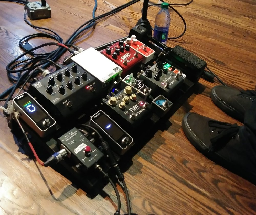 The Steel Wheels mandolin and guitar player Jay Lapp's pedal rig.