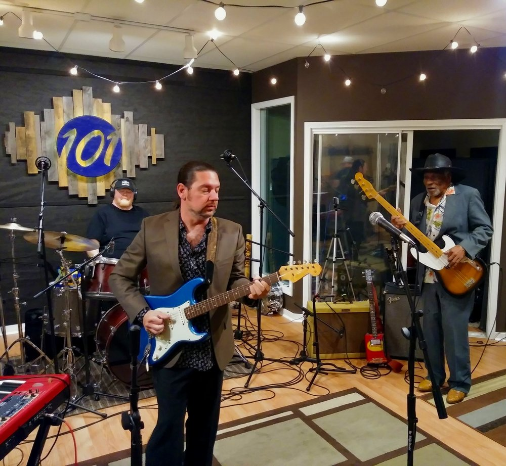 Plate Full O' Blues plays at Studio 101. Pictured: Scotty Hawkins (drums), Austin Brashier (guitar), Mac Arnold (bass)