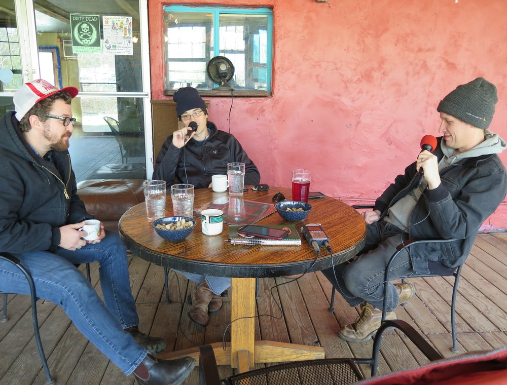 Zach Smith, Jesse Langlais and Phil Barker of Town Mountain during their interview in Asheville NC on 1-26-19