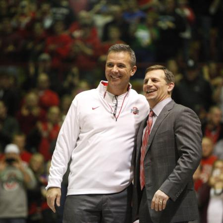 Urban Meyer served as honorary coach for the dual, but the Hawkeyes prevailed in Columbus.
