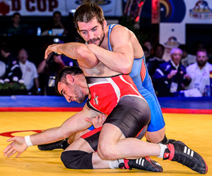 Photo by Tony Rotundo at the 2014 World Cup with Brent Metcalf vs Iran.