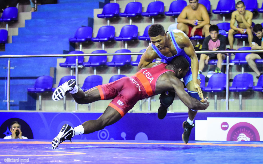 World #4 James Green will look to knock back the other contenders at 70kg this Saturday at the USA Wrestling World Team Trials. Photo: Richard Immel