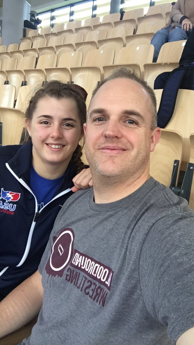 Matt Watters in Poland rooting on his daughter, Rachel, supporting the Bloodround tribe!