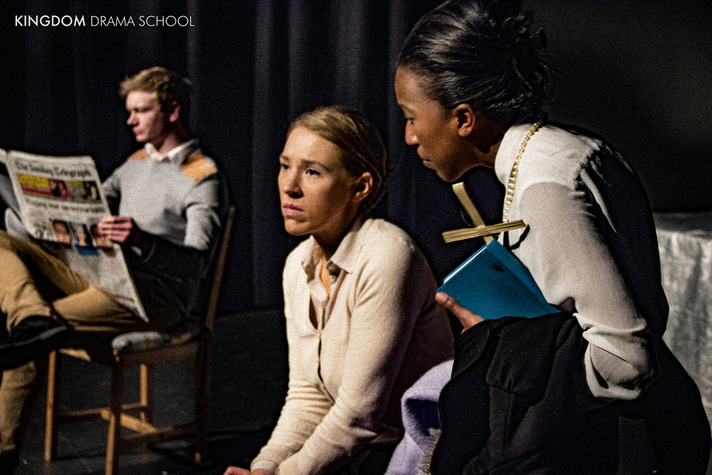Anthony Rhodes, Susannah Wells and Kara John performing in their end-of-term showcase at the New Diorama Theatre, London.