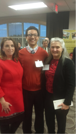 Saratoga Sponsor A Scholar Senior, Davawn Hartz, thanks Adirondack Trust Company Community Fund outgoing Chairperson Joan Taylor (right) and incoming Chairperson Mary Gavin (left) for the Fund's generous gift.