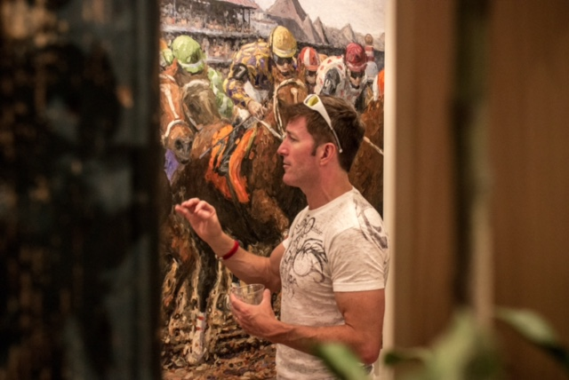 ARTIST TOM MYOTT DISCUSSING ONE OF HIS LATEST PIECES AT SILVERWOOD GALLERY