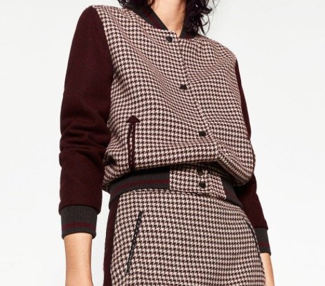 We can never resist a little (or a lot) of houndstooth... and the bomber jacket is another hugely hot draw this season. This cute little number is by Zara for $99.