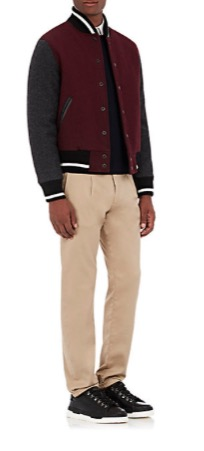 And a naddy one for the guys! He'll look so hansom and collegiate in this this contrast sleeve bomber. Golden Bear X, $495, Barney's.