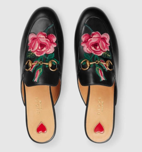 The Gucci slipper mule is HOT right now. This version takes it to the next level with it's Asian-inspired embroidered flowers. Love!