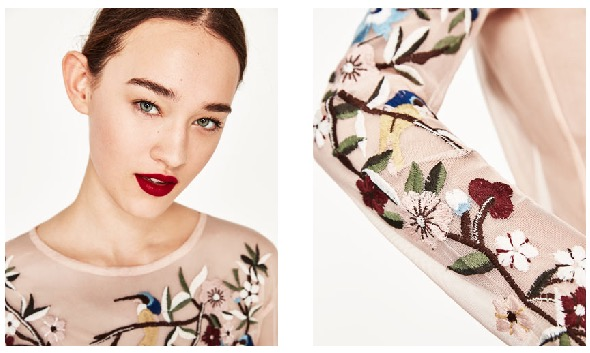 Zara is all in on this hot trend (and at great prices,of course), so you can take it for a ride with only minimal investment. How sweet is this embroidered, sheer top?