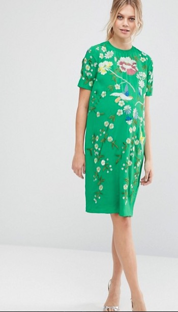 Just because it's maternity, doesn't mean it has to be bland. ASOS is another great (and affordable)source for embroidered pieces. And don't be disappointed if you're not preggo but love this dress- this style and some others come in regular AND maternity... brilliant.