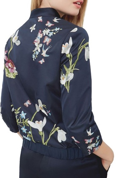 And, as promised, the embroidered bomber jacket. We chose this one from Ted Baker, with it's pretty navy and feminine floral pattern.
