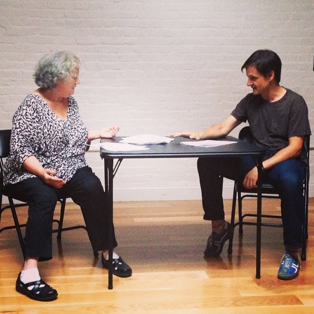 Maureen Shannon and ensemble member Patrick Bonck reading a short play in a Collective Monday session. See more photos>>