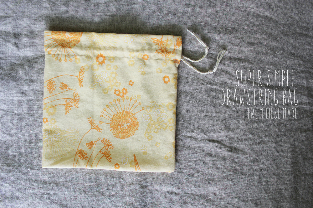 Liesl Made : Simple Drawstring Bag Pouch Tutorial