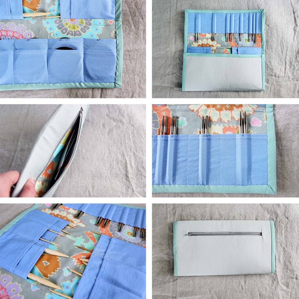 Interchangeable Knitting Needle Case Sewing Pattern : Deluxe Tri-Fold Interchangeable Knitting Needle Case Tutorial   Buckaloo View